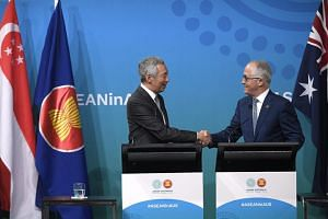 Singapore Prime Minister Lee Hsien Loong and Australian Prime Minister Malcolm Turnbull at a joint press conference on the last day of the Asean-Australia Special Summit in Sydney on March 18, 2018.