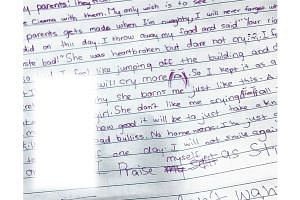 A 10-year-old girl with low self-esteem and who was targeted by bullies wrote this note after a spat with her mother last year. Her mother found it while cleaning the girl's room and sought help. After being counselled regularly and monitored, the gi