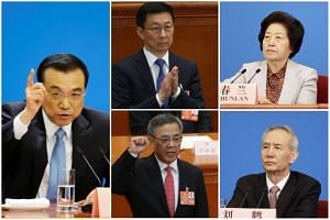 (Clockwise, from left) Premier Li Keqiang, Executive Vice-Premier Han Zheng, Vice-Premier Sun Chunlan, Vice-Premier Liu He and Vice-Premier Hu Chunhua.