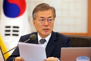 South Korean President Moon Jae In speaks during a Cabinet meeting at the presidential office in Seoul, South Korea on March 20, 2018.
