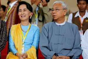 Myanmar's president Htin Kyaw (right) and State Counsellor Aung San Suu Kyi at the opening ceremony of the 21st Century Panglong Conference in Naypyitaw, Myanmar, on May 24, 2017.