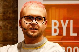 Christopher Wylie speaks at the Frontline Club in London, on March 20, 2018.