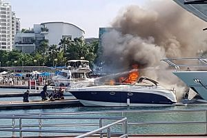 The emergency response team of ONE°15 Marina Club fought the blaze using hose reels before SCDF firefighters arrived and put it out.
