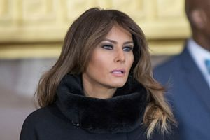 US First Lady Melania Trump has given no hint in public that she might be troubled by allegations from former Playboy model Karen McDougal (top, right) and porn star Stormy Daniels (right).