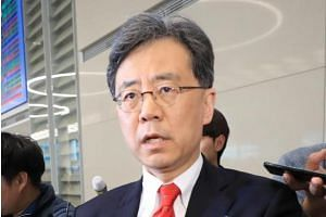 South Korean Trade Minister Kim Hyun Chong speaking to the media after arriving at Incheon International Airport on March 25, 2018.