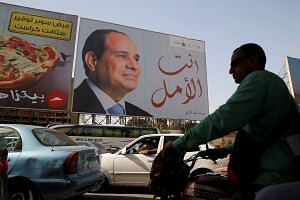 A banner of Egypt's President Abdel Fattah al-Sisi during preparations for the presidential election in Cairo, Egypt, on March 25, 2018.