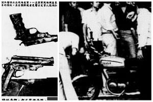 The gunmen's weapons (left), and people looking at the motorcycle that was seized.