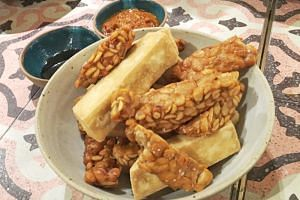 Tempeh served with tofu.