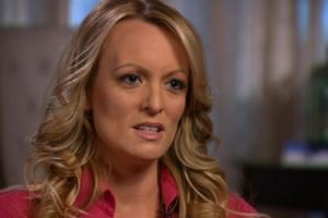 Stormy Daniels, an adult film star and director whose real name is Stephanie Clifford, is interviewed by Anderson Cooper of CBS News' 60 Minutes programme in early March 2018.
