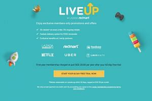 Lazada's LiveUp programme currently offers members rebates and discounts on Lazada, RedMart, Netflix, Taobao Collection, Uber and Uber Eats.