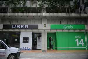 The Singapore offices of Uber and Grab at Midview City on March 26, 2018.