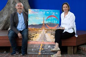 Colcoa executive producer and programmer Francois Truffart (left) and Colcoa deputy director Anouchka Van Riel attend the announcement of the 22nd edition programme of the Colcoa French Film Festival on April 3, 2018.