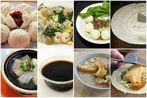 (Clockwise from top left) Char siew bao, fried beehoon, dry fishball noodles, thosai, popiah, porridge, ice grass jelly and bak kut teh.