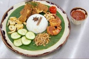 Contestant Zaleha Kadir Opin's nasi lemak with chicken rendang and prawn sambal dish that got her eliminated from MasterChef UK.