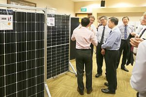 Guests viewing an exhibition at the National University of Singapore Shaw Foundation Alumni House to mark the Solar Energy Research Institute of Singapore's 10th anniversary. The institute has had several breakthroughs under its belt, said its chief,