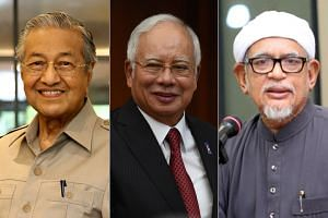 Prime Minister Najib Razak (centre) will lead the 13-party Barisan Nasional coalition, while former prime minister Mahathir Mohamad (left) will head the four-party Pakatan Harapan opposition pact. Mr Abdul Hadi Awang will lead some one million member