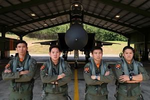 (From left) Captain Chong Qiu Wei (weapon systems officer (fighter), 31; Captain Loy Shi Bin (pilot), 28; Captain James Chai Wang Cong (pilot), 29; and Major Peter Liow Tian Heng (weapon systems officer (fighter), 39. The aircrew said it was only whe