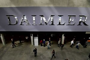 The main entrance of German luxury car manufacturer Daimler during its annual general meeting in Berlin on April 5, 2018.