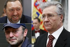 (Clockwise from top left) Oleg V. Deripaska, Vladimir L. Bogdanov and Suleiman A. Kerimov are among the list of Russian business tycoons the Trump administration announced new sanctions against.