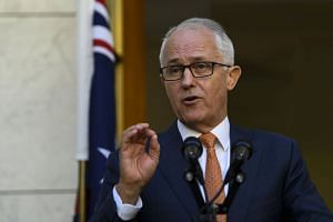 Australian PM Malcolm Turnbull speaking at a news conference at Parliament House in Canberra, Australia, on March 27, 2018.