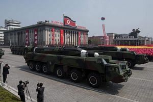 An unidentified missile and mobile launcher making its way through Kim Il Sung Square in Pyongyang, North Korea, during a military parade on April 15, 2017.