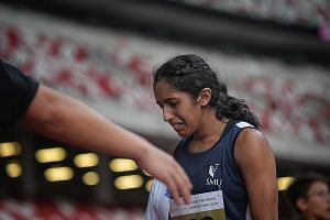 A tearful Shanti Pereira in agony after the 100m final. She pulled up in obvious pain after 30m but managed to hobble across the finish line. She has to skip the 200m and 4x100m relay.