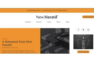 The website New Naratif has issued a statement rejecting claims that it is a vehicle for foreigners to meddle in politics here.
