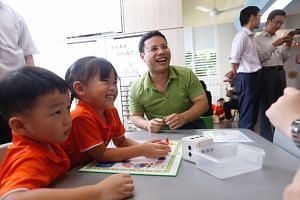Social and Family Development Minister Desmond Lee at the launch of an Early Childhood Development Agency initiative at My First Skool in Jurong West on April 12, 2018.