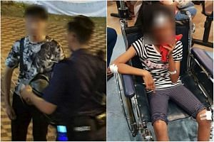 The 24-year-old man (left) riding an e-scooter allegedly hit an 11-year-old girl near Pasir Ris East Community Club.