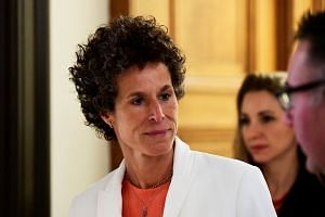 Andrea Constand breaks for lunch at the Bill Cosby sexual assault retrial case, April 13, 2018.