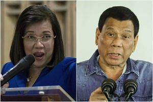 """President Rodrigo Duterte (right) called Chief Justice Maria Lourdes Sereno of the Supreme Court an """"enemy,"""" and vowed he would remove her from office."""