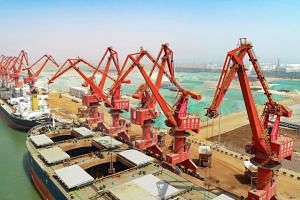 Cargo ships at a port in Lianyungang, China, on April 16, 2018.