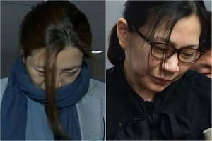 "Cho Hyun Min (left) is under investigation by police for possible assault after it was reported she threw water at people during a business meeting while her older sister Heather Cho, made headlines over a notorious""nut rage"" incident in 2014."