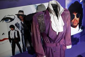 A costume from Princes's Purple Rain era on display at the My Name Is Prince exhibition at the O2 in London, Britain on Oct 26, 2017.