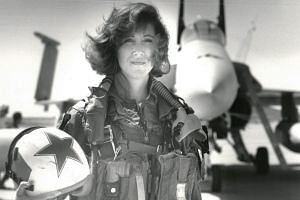 Tammie Jo Shults with her F/A-18A jet in 1992. Captain Shults took up flying when there were far fewer in the industry and when women were often told to find other careers.