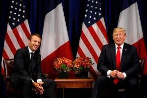 US President Donald Trump meets with French President Emmanuel Macron in New York, on Sept 18, 2017.
