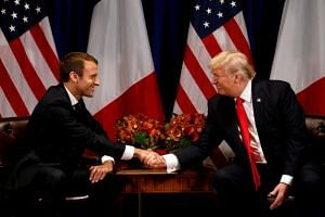 US President Donald Trump meets French President Emmanuel Macron in New York, US on Sept 18, 2017.