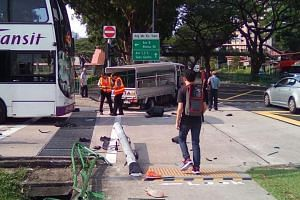 Leow Jun An, 19,  saw the lorry mount the pavement and drive past him along Ang Mo Kio Avenue 6, narrowly missing him by about a metre.