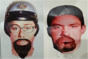 Photo-fits of the suspects behind the shooting of Palestinian lecturer Fadi al-Batsh in Malaysia.