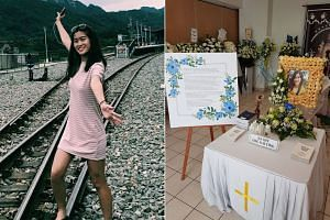 Miss Kathy Ong (left), who died in an accident on April 19, and a photo of her wake at the Church of St Teresa in Kampong Bahru, which was shared on Facebook by her father.