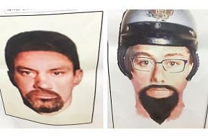 Facial reconstruction printouts of the two suspects involved in the killing of Palestinian lecturer Fadi al-Batsh.