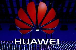 The Huawei logo is seen during the Mobile World Congress in Barcelona on Feb 26, 2018.
