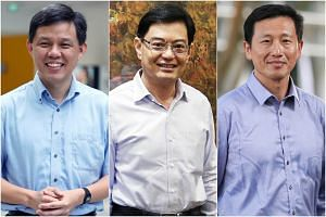 (From left) Labour chief Chan Chun Sing, Finance Minister Heng Swee Keat and Education Minister (Higher Education and Skills) Ong Ye Kung, who are widely viewed to be contenders for Prime Minister.