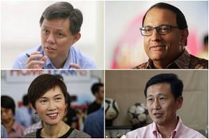 (Clockwise from top left) Chan Chun Sing, S. Iswaran, Ong Ye Kung and Josephine Teo.