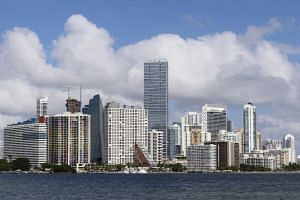 The downtown skyline of Miami, Florida is seen in a 2015 photo.