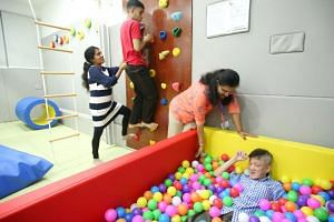 The 35 sqm gym includes a ball pool, ladders and climbing walls. It serves as part of the adult therapy programme to improve the quality of life of clients, and is open to the 400 clients at Minds' nine centres for adults.