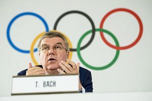IOC president Thomas Bach speaks during a press conference following the IOC executive board meeting.