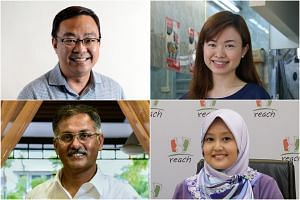 Clockwise from top left: Pioneer MP Cedric Foo, MacPherson MP Tin Pei Ling, Jurong GRC MP Rahayu Mahzam, and Bukit Batok MP Murali Pillai.