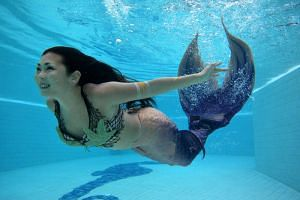 The team used the footage mermaid performer Cara Nicole Neo had provided and hired an actress to stand in as her for the interview component of the video.