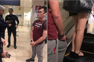 A 27-year-old man was arrested at Bishan MRT station yesterday after he appeared to film under the skirt of a woman on the escalator.